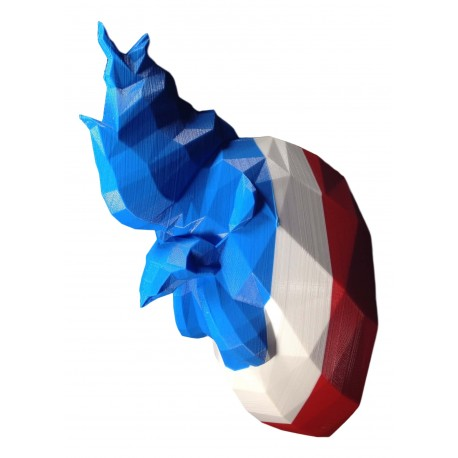 Rooster Trophy with flag stripes