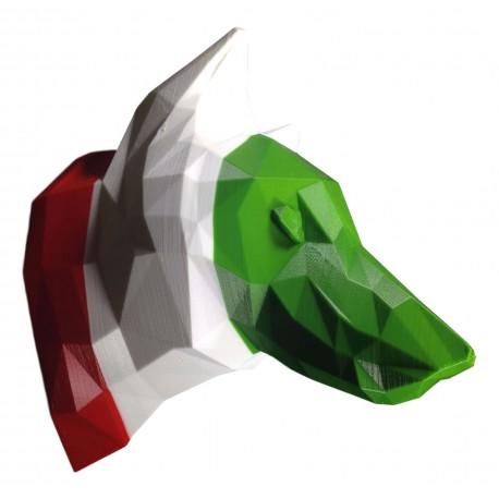 Trophée Loup rayures drapeau