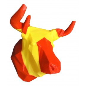 Bull decorative head with flag stripes