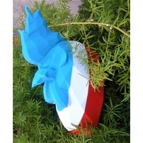 Trophée coq rayures drapeau