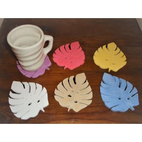 Hoja decorativa monstera en resina cerámica
