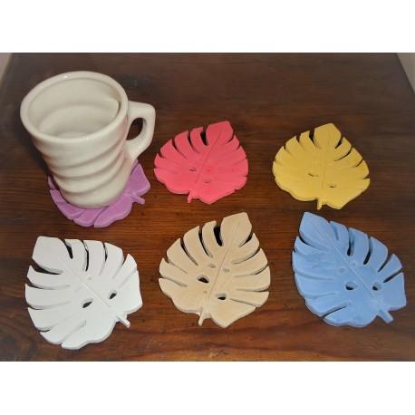 Posa vaso hoja de monstera resina cerámica