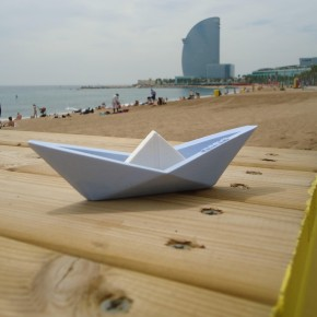 Origami style customizable sailboat