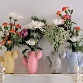 Florero cactus en resina cerámica
