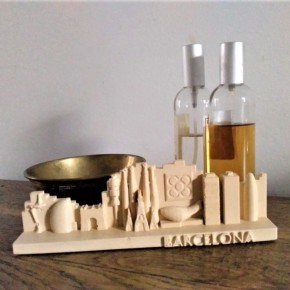 Customizable Skyline of Barcelona in ceramic resin