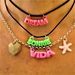 Necklace with personalized word