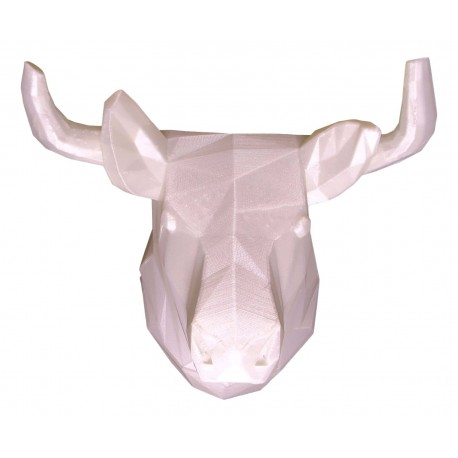 3D bull trophy white front