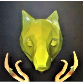 Trofeo 3D Lobo negro perfil
