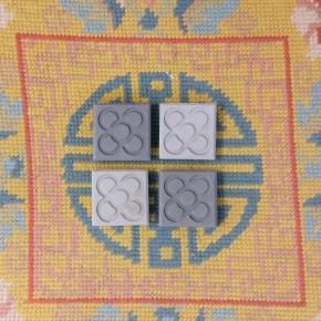 4 mini magnets gris Fleur de Barcelone, Panot