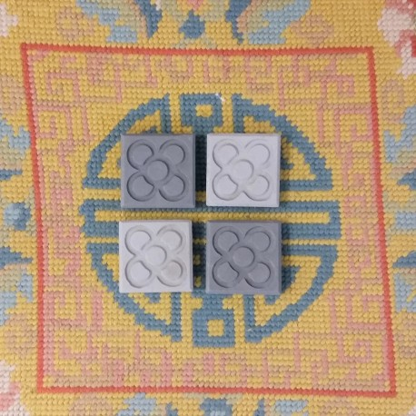 Lot of 4 MINI magnets Flor de Barcelona, Panot, in concrete.