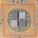 4 mini magnets Flor de Barcelona gris