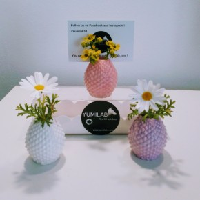 3 Mini vases Porte-carte / Porte-photos ananas