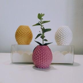3 Mini floreros, mini macetas piña
