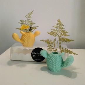 2 Mini floreros cactus