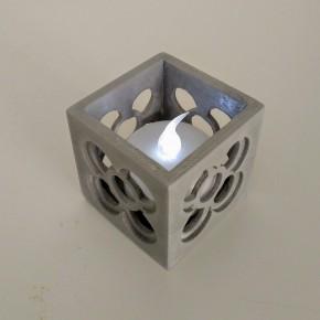Mini pot cubique ajouré Panot, avec ou sans LED