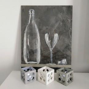 3 Mini pots cubiques ajourés Panot Barcelone, avec ou sans LED