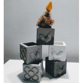 Mini Pot cubique Coqs et Panots