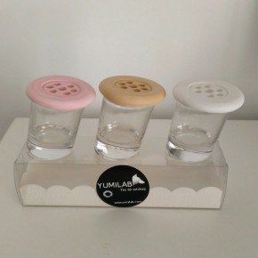 3 Mini slanted vases with lid Botonflor flowers holder