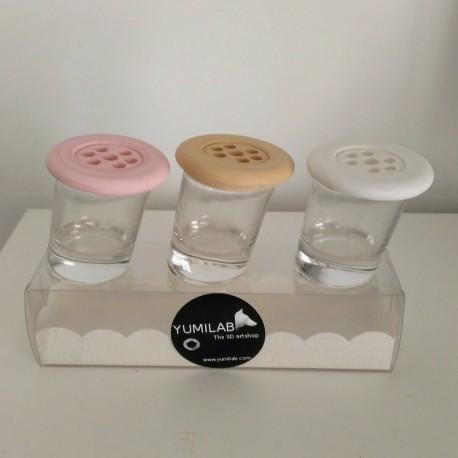 3 Mini slanted vases with lid Botonflor flowers holder