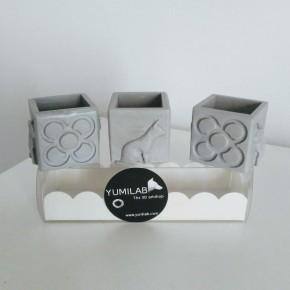 3 mini pots cubiques chats et Panots, Barcelona