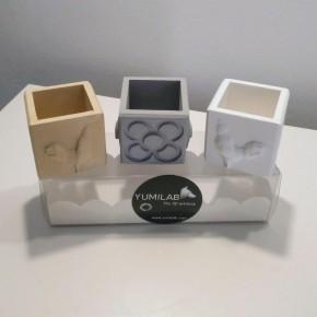 3 mini pots cubiques Coqs et Panots, Barcelona