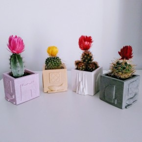 3 mini cubic pots souvenirs from Barcelona, exclusive design