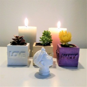 "3 Mini ""LOVE-HAPPY"" cubic pots"