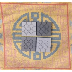4 mini magnets Bilbao gray rosette tile