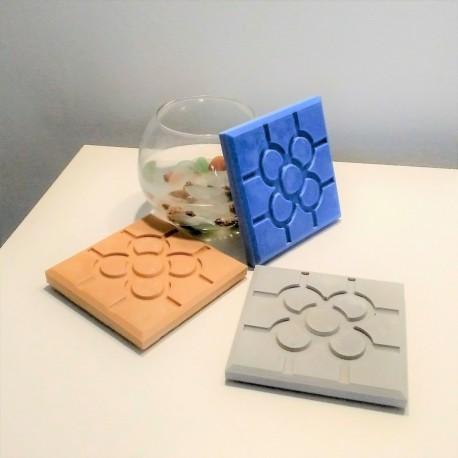 3 coasters,  Bilbao rosette tile, in ceramic resin