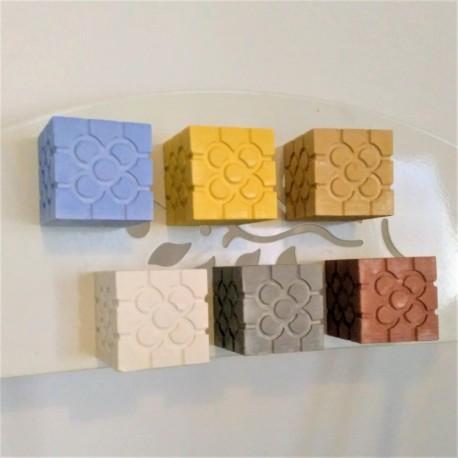 3 Mini Cubic Magnetic vases, Bilbao rosette tile in ceramic resin