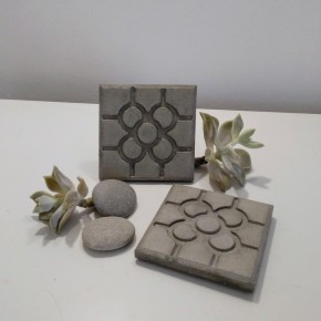 3 coasters Bilbao rosette tile in concrete