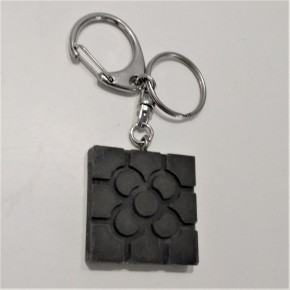 Key chain with Bilbao rosette tile pendant in ceramic resin