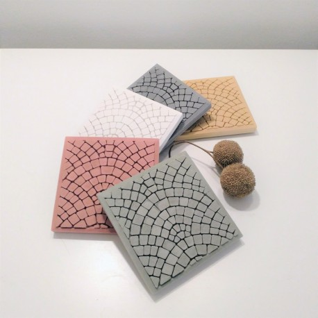 3 coasters Paris cobblestones in ceramic resin