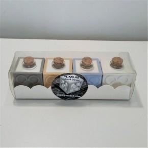 4 mini cubic soliflor vases, tile  rose of Barcelona