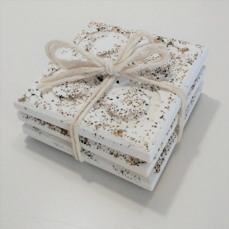 3 Panot coasters, white with sand grains