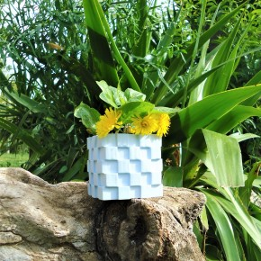 Cubic flowerpot with outside staircase