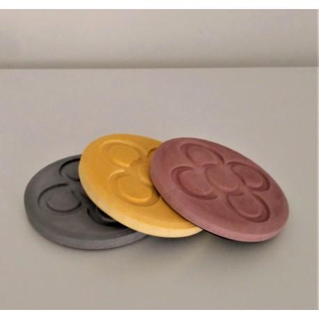 3 sous-verres, résine céramique Fleur de Barcelona, Panot3 sous-verres ronds Panot, Fleur de Barcelone