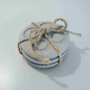 3 round Panot coasters,light grey concrete, Barcelona flower