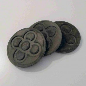3 round Panot coasters,dark grey concrete, Barcelona flower