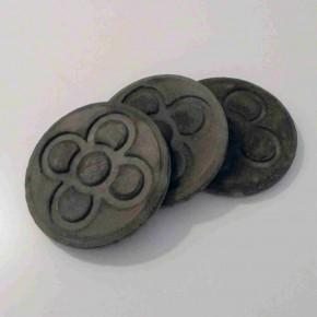 3 sous-verres ronds Panot, béton gris foncé,Fleur de Barcelone