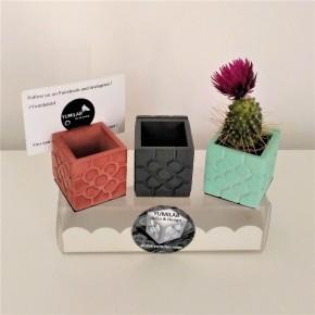3 mini vases porte-cartes fleur de Bilbao