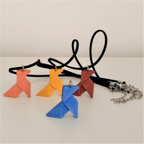 Ceramic resin origami paper bird necklace