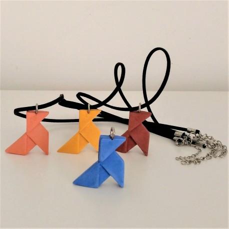 Ceramic resin origami paper bird necklace