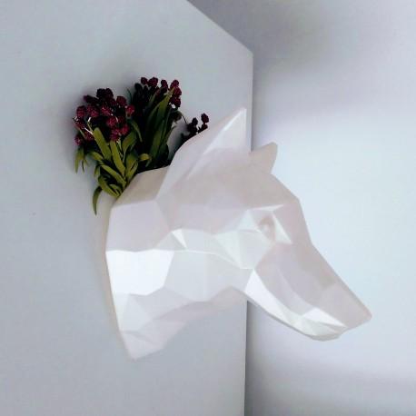 Trophée 3D loup noir profil