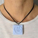 Necklace with large square triskel, ceramic resin