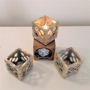 3 mini grey Panots openwork cubic pots with gold metal finish