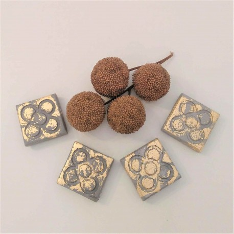 4 Mini magnets Panot with golden metal finish