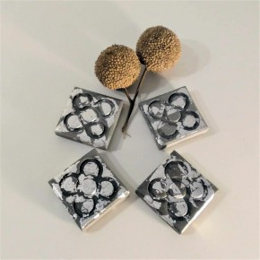 4 Mini magnets Panot with silver metal finish