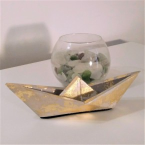 Large origami style sailboat with golden metal finish