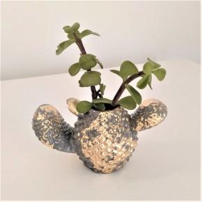 Mini pot cactus avec finition métal doré ou argenté